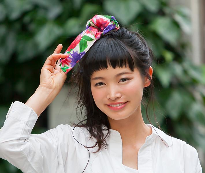 風呂敷使い方:髪アクセサリー